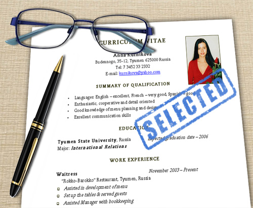 Картинка: Резюме «resume» и краткая биография «curriculum vitae» (CV) на английском