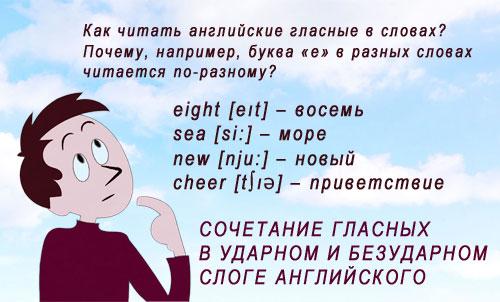 Картинка: Чтение двух подряд гласных букв в английском слоге