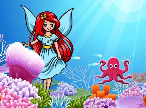 Картинка: Осьминог и морская фея